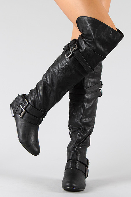 buckle slouchy thigh high flat boot fashionboutique2036