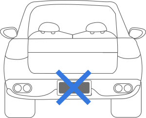 Do not block license plate