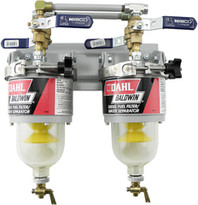 Baldwin 100-MFV Two Diesel Fuel Filter/Water Separators Manifolded with Shut-Off Valves