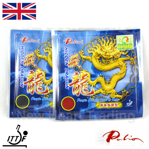 2 x Palio Hidden Dragon Table Tennis Bat Rubbers 36-38 front of packs
