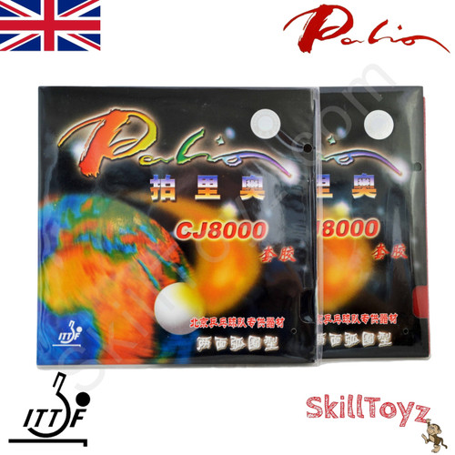 2 x Palio CJ8000 Two Side Loop Table Tennis Bat Rubbers 36-38 front of packets. Price is for 2 rubbers, one red + one black.