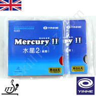 2 x Yinhe Mercury II Table Tennis Bat Rubbers MEDIUM one red + one black rubber