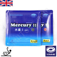 2 x Yinhe Mercury II Table Tennis Bat Rubbers HARD  one red + one black rubber