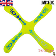 LMI and Fox Boomerangs Skyblader ABS is a great beginners boomerang. RIGHT HANDED. 4 winged (quad wing) returning boomerang. Colour: yellow with printed pattern