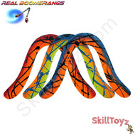 The Champ is a recreational boomerang made by Real Boomerangs of Australia. Each one is hand made and every boomerang is unique. Colours vary. This photo shows a few of the colours available. Each boomerang is allocated at random.