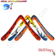 The Kick Ass Aussie Round weighted phenolic sports boomerang by Real Boomerangs of Australia. Each one is hand made and every boomerang is unique. Colours vary. This photo shows a few of the colours. Each boomerang is allocated at random.