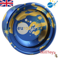 Euro-Yo Comet advanced trick unresponsive aluminium Yo-Yo - Blue with gold splash