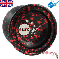 Euro-Yo Comet advanced unresponsive aluminium Yo-Yo - Black with red splash