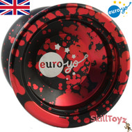 Euro-Yo Stellar unresponsive aluminium Yo-Yo -  Black with red splash