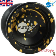 Euro-Yo Stellar unresponsive aluminium Yo-Yo - Black with gold splash