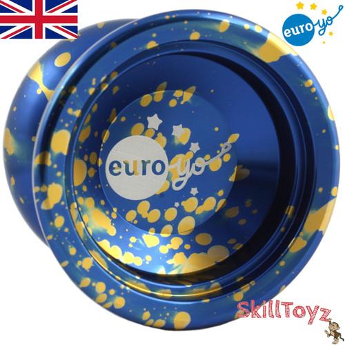 Euro-Yo Stellar unresponsive aluminium Yo-Yo - Blue with gold splash