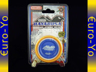 Duncan Hayabusa Yo-yo White body, blue pogs with orange rims