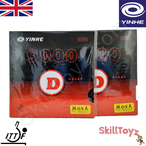 Yinhe 9000 D Table Medium hardness Tennis Bat Rubbers showing front of packets. Price is for two rubbers, One red one black.