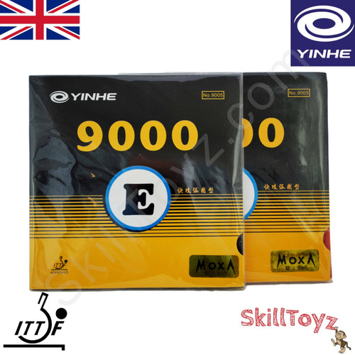 Yinhe 9000 E Table soft hardness Tennis Bat Rubbers showing front of packets. Price is for two rubbers, One red one black.