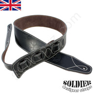 Soldier black leather guitar strap. Adjustable length. High quality leather work.