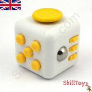 Fidget Cube - Six sides – six functions – endless fidgeting! Colour: White and Yellow