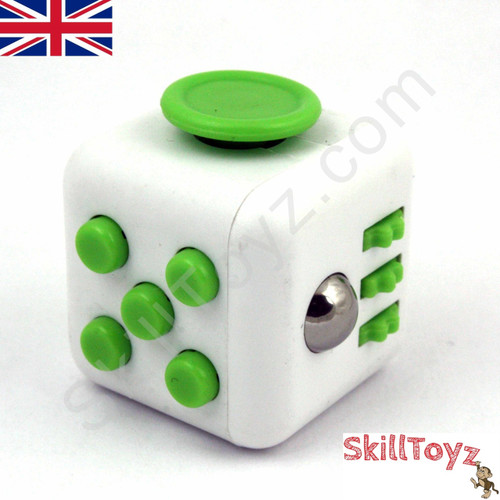 Fidget Cube - Six sides – six functions – endless fidgeting! Colour: White and Green