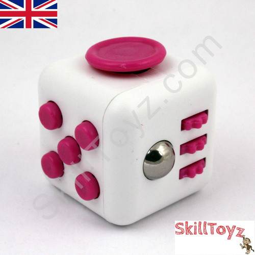 Fidget Cube - Six sides – six functions – endless fidgeting! Colour: White and Pink