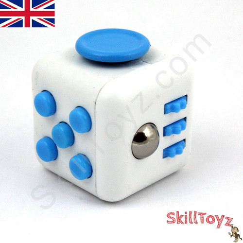 Fidget Cube - Six sides – six functions – endless fidgeting! Colour: White and Blue