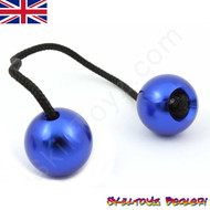 Assembled SkillToyz Begleri with blue Aluminium Beads and black Paracord.