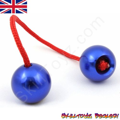 Assembled SkillToyz Begleri with blue Aluminium Beads and red Paracord.
