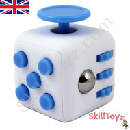 Premium Edition Fidget Cube featuring a larger body and soft touch rubberised finish.White and blue.