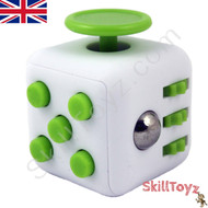 Premium Edition Fidget Cube featuring a larger body and soft touch rubberised finish. White and Green.