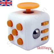 Premium Edition Fidget Cube featuring a larger body and soft touch rubberised finish. White and orange.