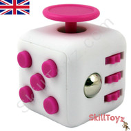 Premium Edition Fidget Cube featuring a larger body and soft touch rubberised finish. White and pink.