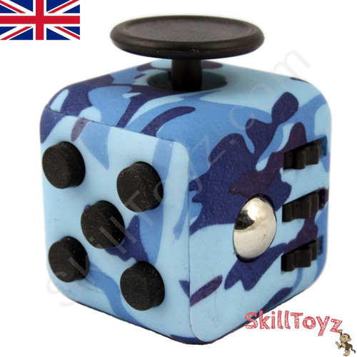 Premium Edition Fidget Cube featuring a larger body and soft touch rubberised finish. Camouflage Blue