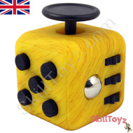 Premium Edition Fidget Cube featuring a larger body and soft touch rubberised finish. Marble yellow colour.