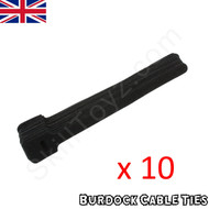 Pack of 10 hook and loop Velcro style black cable ties 152mm long x 8mm wide