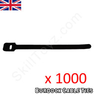 Pack of 1000 hook and loop Velcro style black cable ties 152mm long x 8mm wide