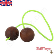 SkillToyz Chinese Cherry wooden Begleri with neon green type 275 Paracord.