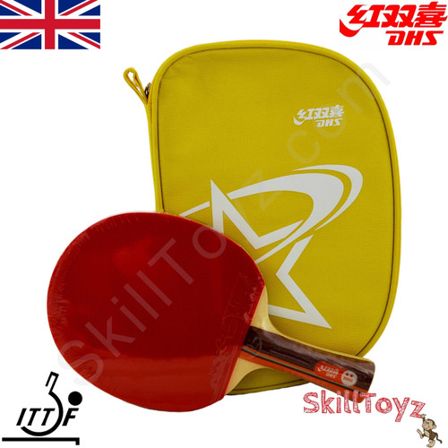 DHS (Double Happiness) Table Tennis Bat and Case, model R2002 with yellow zip case and free SkillToyz rubber protectors