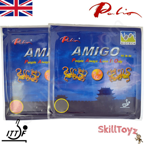Two Palio Amigo Biotech Table Tennis Bat Rubbers 40-42, one red one black. Front of packaging.