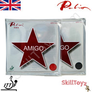 Two Palio Amigo 40+ plus Table Tennis Bat Rubbers one red one black. Front of packaging. In stock and shipped from the UK.