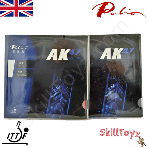 Two Palio AK47 Blue 38-40 Table Tennis Bat Rubbers,  one red + one black rubber. Front of packaging. In stock and shipped from the UK.