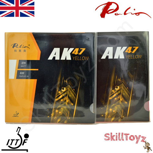 Two Palio AK47 yellow 42-44 Table Tennis Bat Rubbers,  one red + one black rubber. Front of packaging. In stock and shipped from the UK.