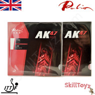 Two Palio AK47 red 45-47 Table Tennis Bat Rubbers,  one red + one black rubber. Front of packaging. In stock and shipped from the UK.