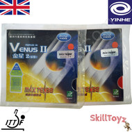 Yinhe Venus Two Table Tennis Bat Rubbers Medium hardness front of packets. Price is for two rubbers, One red one black.