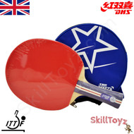 DHS (Double Happiness) Table Tennis Bat and Case, model A1002 with blue zip case and free SkillToyz rubber protectors
