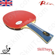 Palio 2 Star Expert Table Tennis blue handle Bat showing red side HK1997 rubbers sold complete with case