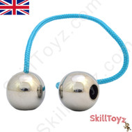 Assembled SkillToyz Stainless Steel Begleri with light blue type 325 Paracord. Assembly is required. Supplied with 2 begleri beads, 2 lengths of paracord, and a soft carry bag.