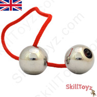 Assembled SkillToyz Stainless Steel Begleri with red type 325 Paracord. Assembly is required. Supplied with 2 begleri beads, 2 lengths of paracord, and a soft carry bag.