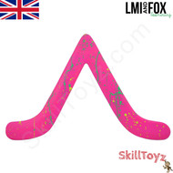 Bargan Boomerang by  LMI & Fox Boomerangs, made from ABS (plastic), hand painted pink colour.  RIGHT HANDED