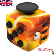 Premium Edition Fidget Cube featuring a larger body and soft touch rubberised finish. Flame edition.