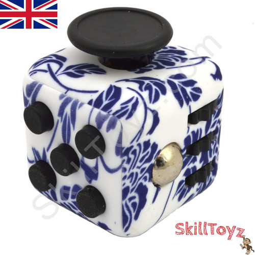 Premium Edition Fidget Cube featuring a larger body and soft touch rubberised finish. blue flower edition.