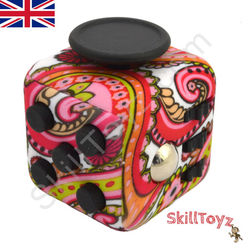 Premium Edition Fidget Cube featuring a larger body and soft touch rubberised finish. Paisley edition.