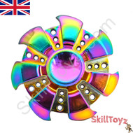 The SuperHuman Edition Finger Spinner toy made from Zinc Alloy  with a beautiful rainbow finish.  Heavier weight for long spins!
